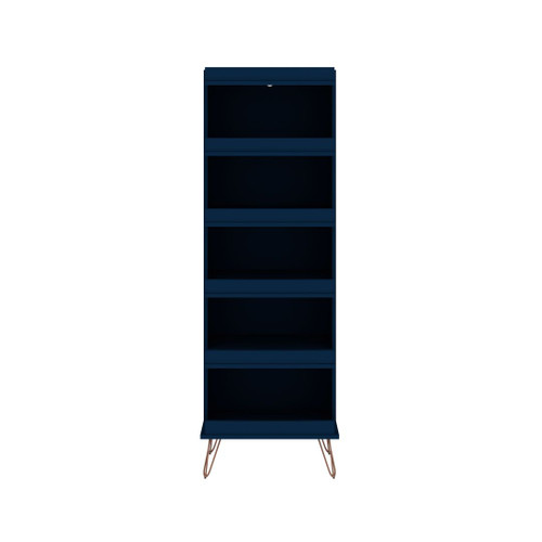 Manhattan Comfort Rockefeller Shoe Storage Rack with 6 Shelves in Tatiana Midnight Blue