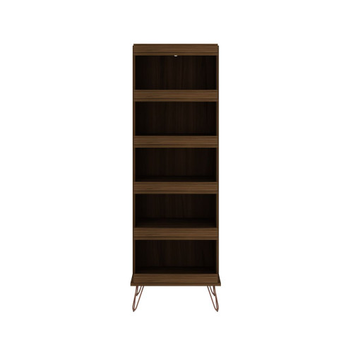 Manhattan Comfort Rockefeller Shoe Storage Rack with 6 Shelves in Brown