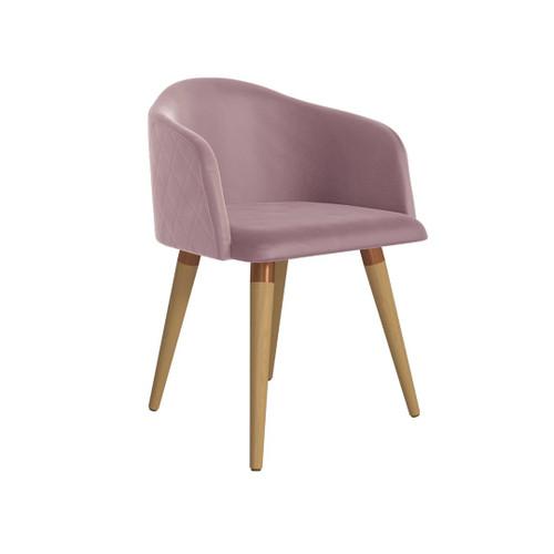 Manhattan Comfort Kari Velvet Matelassé Accent Chair in Rose Pink