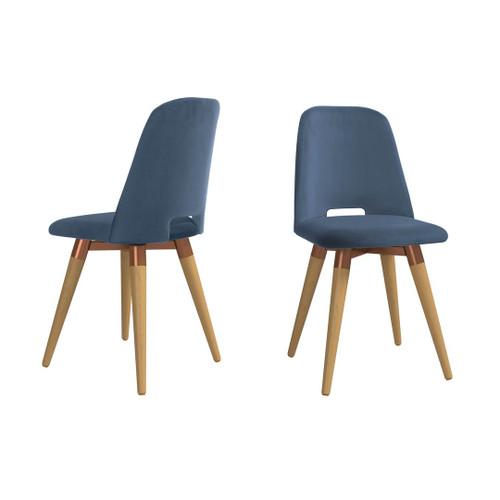 Manhattan Comfort Selina Velvet Accent Chair in Blue - Set of 2