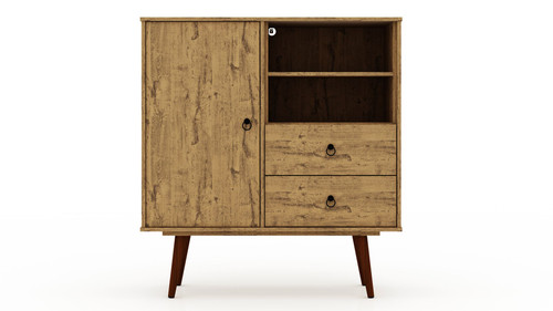 Manhattan Comfort Tribeca Mid-Century- Modern Dresser with 2-Drawers in Nature