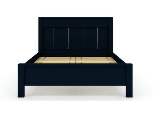 Manhattan Comfort Gramercy Queen-size Modern Bedframe with Headboard in Tatiana Midnight Blue