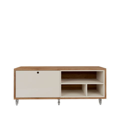 Manhattan Comfort Windsor 53.62 Modern Shoe Rack Bed Bench with Silicon Casters in Off White and Nature