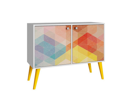 Manhattan Comfort 2- Piece Mid-Century Modern Avesta Double Side Table in White, Stamp, Yellow