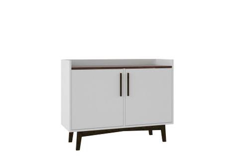"""Manhattan Comfort Mid-Century- Modern Brookdale 35.43"""" Sideboard with 4 Shelves in White and Nut Brown"""