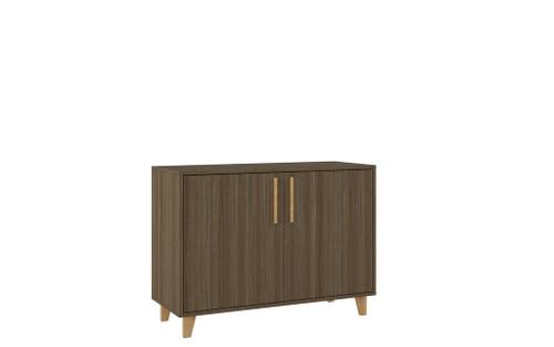 Manhattan Comfort Mid-Century - Modern Herald Double Side Cabinet with 2 Shelves in Oak Brown