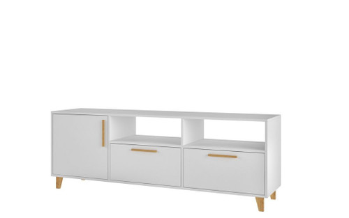 "Manhattan Comfort Mid-Century - Modern Herald 53.15"" TV Stand with 6 Shelves in White"