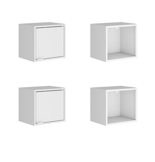 """Manhattan Comfort Smart 4-Piece 13.77"""" Floating Cabinet and Display Shelf in White"""