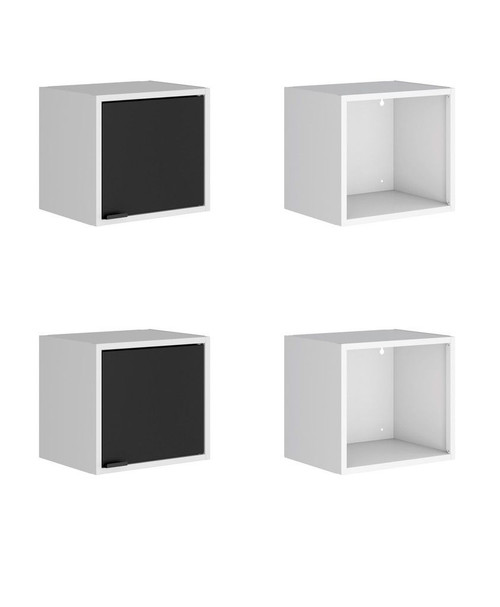 """Manhattan Comfort Smart 4-Piece 13.77"""" Floating Cabinet and Display Shelf in White and Black"""
