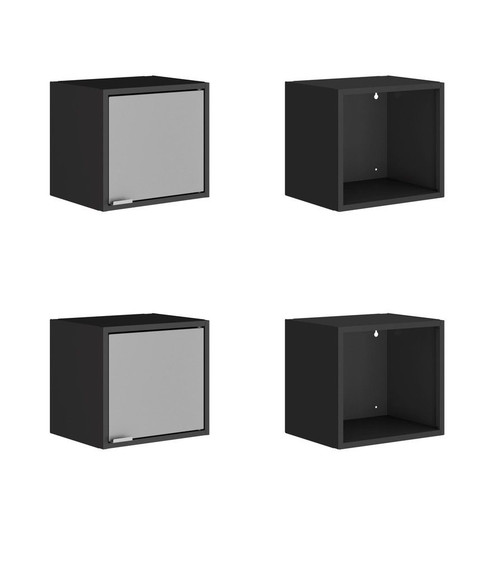 """Manhattan Comfort Smart 4-Piece 13.77"""" Floating Cabinet and Display Shelf in Black and Grey"""