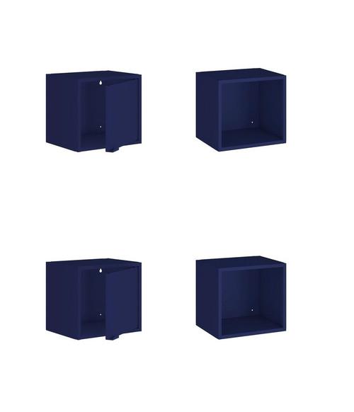 "Manhattan Comfort Smart 4-Piece 13.77"" Floating Cabinet and Display Shelf in Blue"
