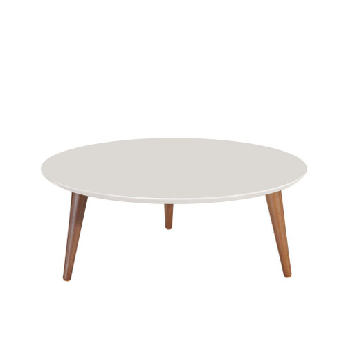 "Manhattan Comfort Moore 23.62"" Round Low Coffee Table in Off White"