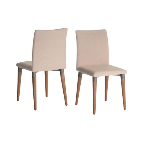 Manhattan Comfort Charles 2-Piece Dining Chair in Dark Beige