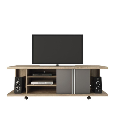 Manhattan Comfort Carnegie TV Stand in Nature and Onyx
