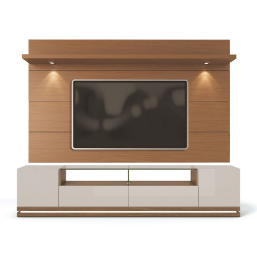 Manhattan Comfort Vanderbilt TV Stand and Cabrini 2.2 Floating Wall TV Panel with LED Lights in Off White and Maple Cream