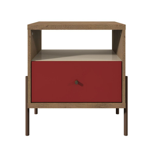 Manhattan Comfort Joy 1-Full Extension Drawer Nightstand in Red