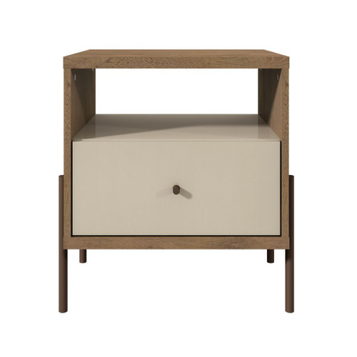 Manhattan Comfort Joy 1-Full Extension Drawer Nightstand in Off White