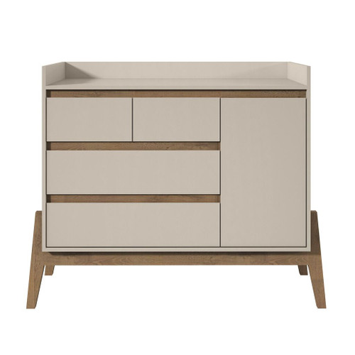 "Manhattan Comfort Essence 49"" Wide Dresser with 4 Full Extension Drawers and Table Top in Off White"