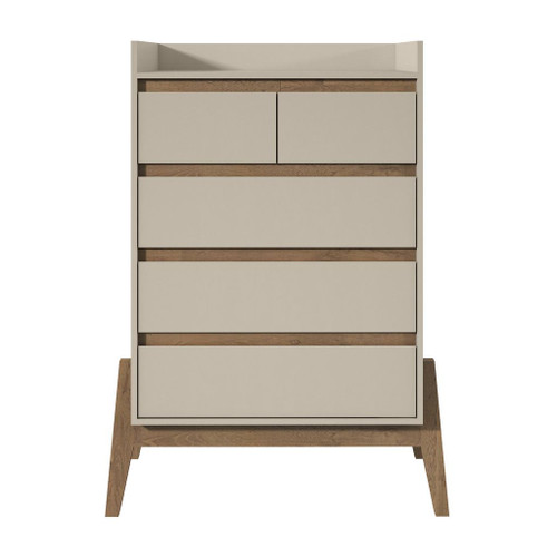 "Manhattan Comfort Essence 48.23"" Tall Dresser with 5 Full Extension Drawers in Off White"