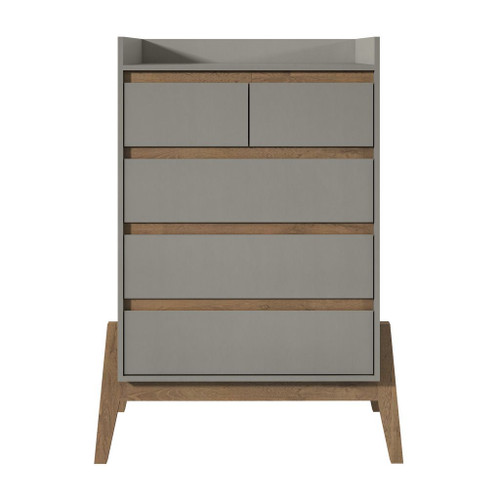 "Manhattan Comfort Essence 48.23"" Tall Dresser with 5 Full Extension Drawers in Grey"