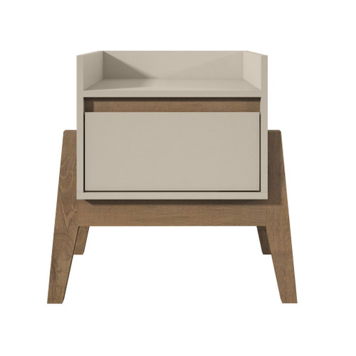 Manhattan Comfort Essence 1-Full Extension Drawer Nightstand in Off White