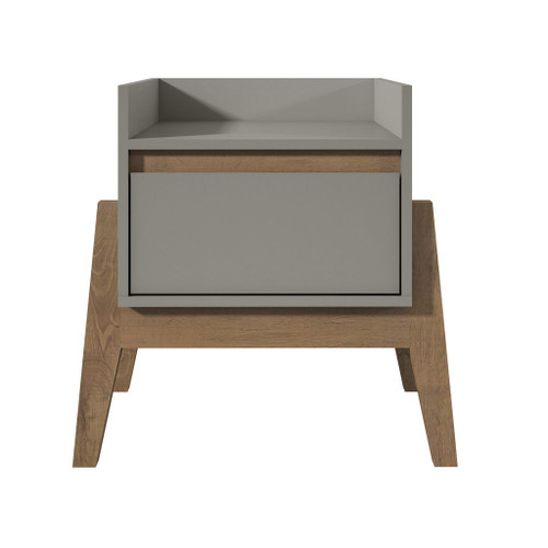 Manhattan Comfort Essence 1-Full Extension Drawer Nightstand in Grey
