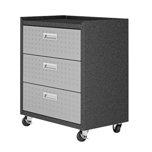 """Manhattan Comfort Fortress Textured Metal 31.5"""" Garage Mobile Chest with 3 Full Extension Drawers in Grey"""