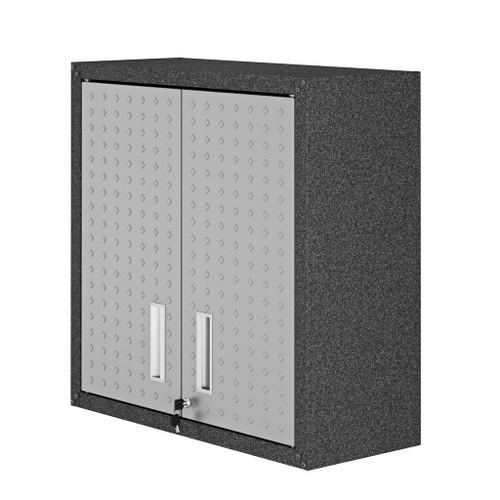 "Manhattan Comfort Fortress 30"" Floating Textured Metal Garage Cabinet with Adjustable Shelves in Grey"