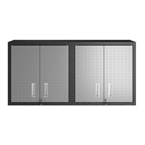 "Manhattan Comfort Fortress 30"" Floating Textured Metal Garage Cabinet with Adjustable Shelves in Grey - Set of 2"