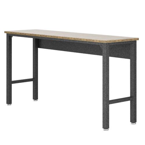 "Manhattan Comfort Manhattan Comfort Fortress 72.4"" Garage Table in Natural Wood and Steel"