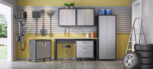 Manhattan Comfort 6-Piece Fortress Textured Garage Set with Cabinets, Wall Units and Table in Grey.