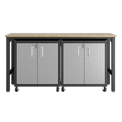 Manhattan Comfort 3-Piece Fortress Mobile Space-Saving Steel Garage Cabinet and Worktable 1.0 in Grey