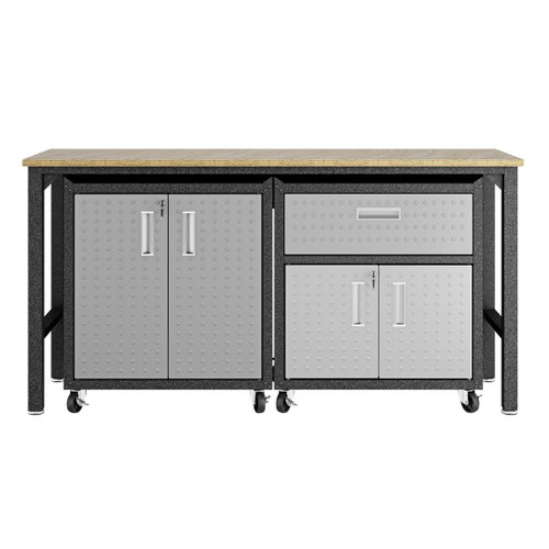 Manhattan Comfort 3-Piece Fortress Mobile Space-Saving Steel Garage Cabinet and Worktable 2.0 in Grey