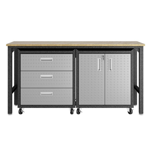 Manhattan Comfort 3-Piece Fortress Mobile Space-Saving Steel Garage Cabinet and Worktable 3.0 in Grey