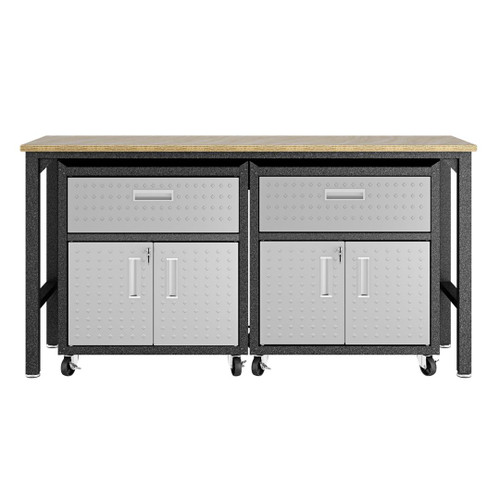 Manhattan Comfort 3-Piece Fortress Mobile Space-Saving Steel Garage Cabinet and Worktable 4.0 in Grey