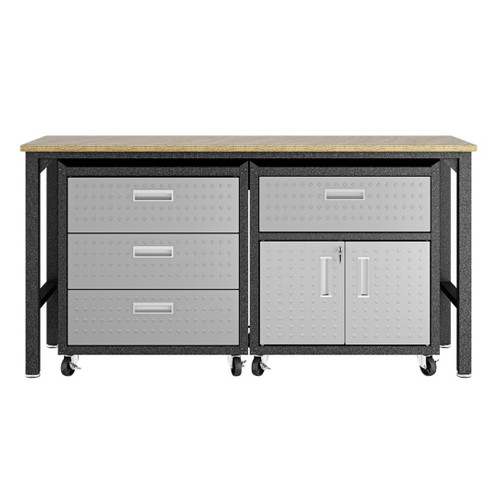 Manhattan Comfort 3-Piece Fortress Mobile Space-Saving Steel Garage Cabinet and Worktable 5.0 in Grey
