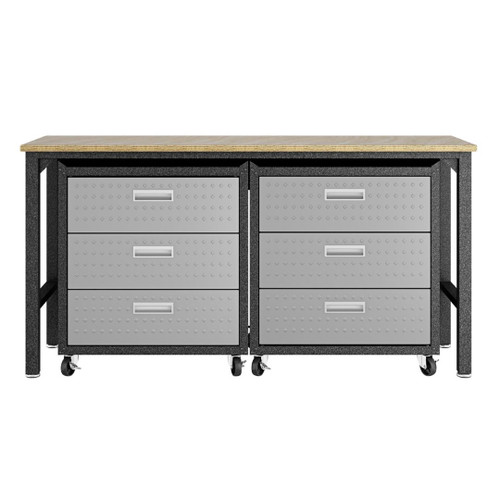 Manhattan Comfort 3-Piece Fortress Mobile Space-Saving Steel Garage Cabinet and Worktable 6.0 in Grey