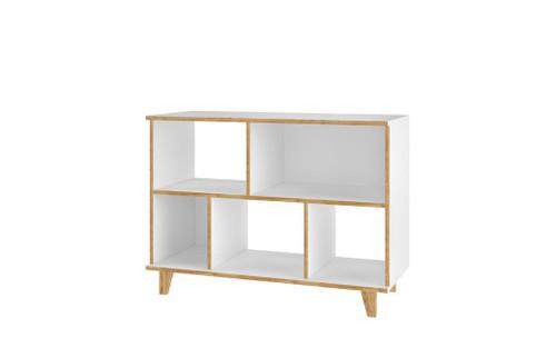 Manhattan Comfort Minetta 5-Shelf Mid-Century Low Bookcase in White