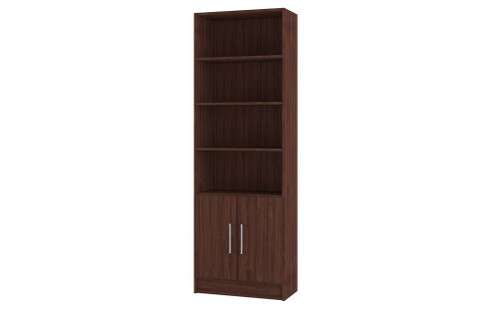 Manhattan Comfort Practical Catarina Cabinet with 6- Shelves in Nut Brown