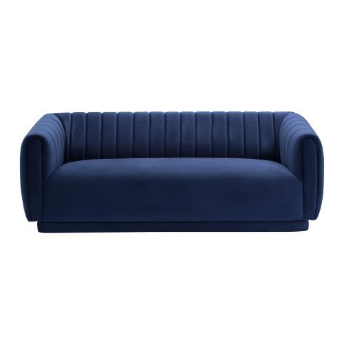 Kinsley Navy Modern Velvet Sofa