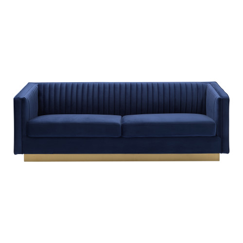 Miranda Navy Velvet and Gold Sofa