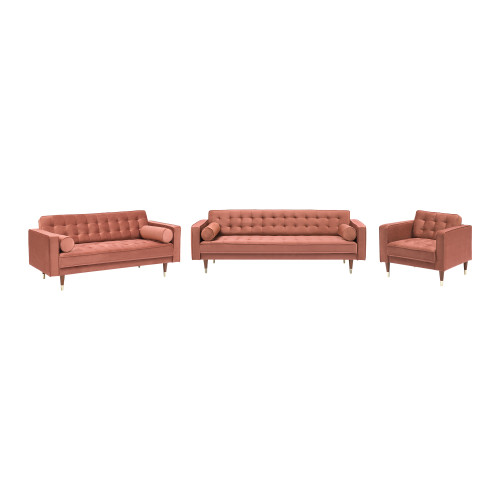 Somerset Blush Velvet Mid Century Modern Sofa Seating Set