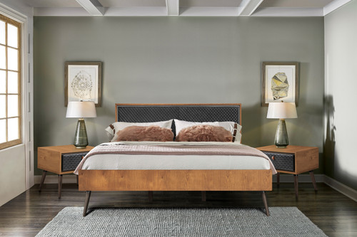 Coco Rustic 3 Piece Upholstered Platform Bedroom set in King with 2 Nightstands