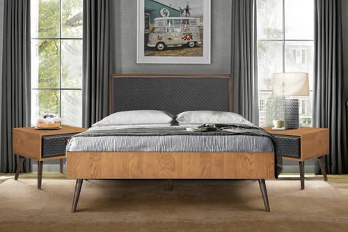 Coco Rustic 3 Piece Upholstered Platform Bedroom set in Queen with 2 Nightstands