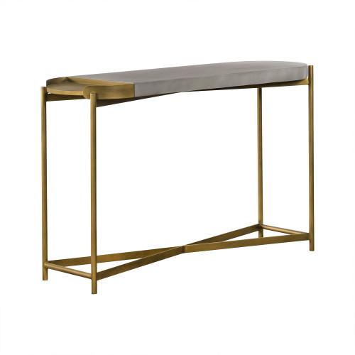 Dua Grey Concrete Console Table with Antique Brass