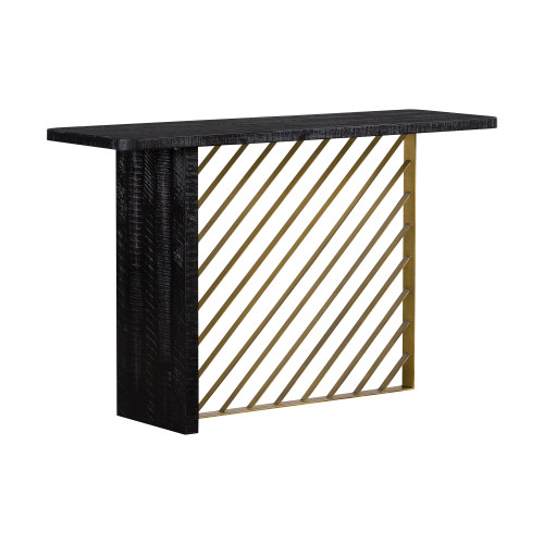 Monaco Black Wood Console Table with Antique Brass Accent