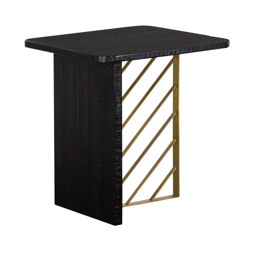 Monaco Black Wood Side Table with Antique Brass Accent