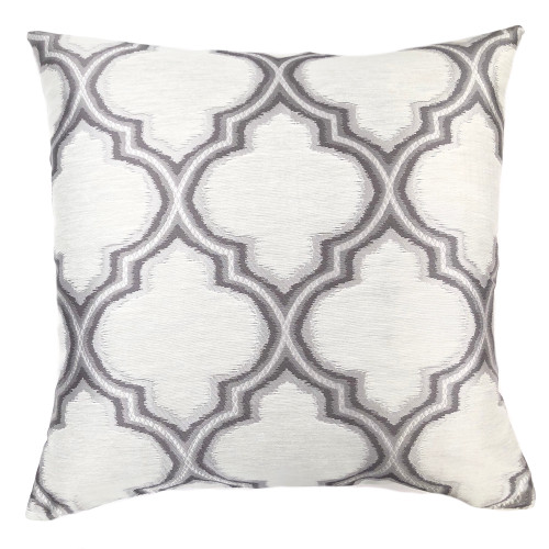 Aria Contemporary Decorative Feather and Down Throw Pillow In Gray Jacquard Fabric