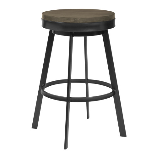 """Topeka 26""""Counter Height Barstool in Mineral Finish and Grey Walnut Wood Seat"""