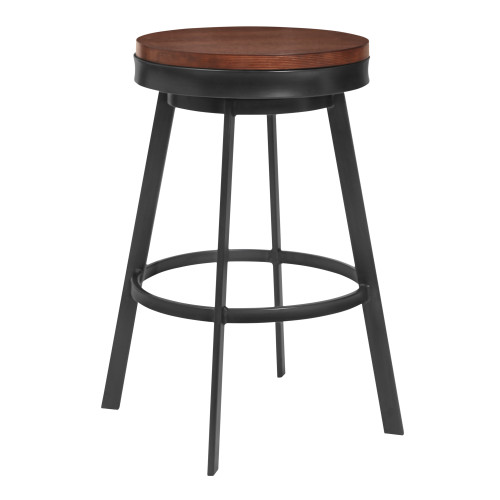 """Topeka 26"""" Counter Height Barstool in Mineral Finish and Walnut Wood Seat"""